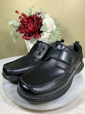 DR. SCHOLLS Black Leather Strap Shoes DIABETIC Gel Cushion Footbed Men's US 10.5
