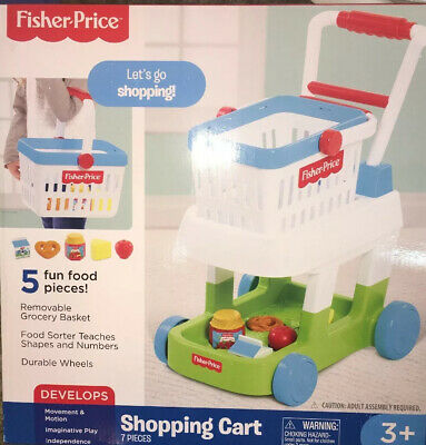 Fisher Price Let's Go Shopping Cart Toy With Removable Food Basket