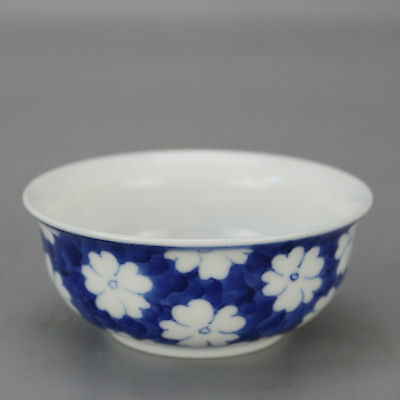 China antique Porcelain hand made QING QIANLONG blue & white flower bowl cup
