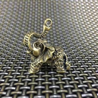 Chinese Exquisite Old Antique Collectible Handwork Old Brass Elephant Pendant