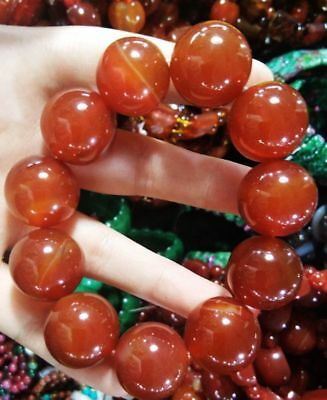 Exquisite China Pure Natural Red Agate Handmade Elastic Bracelet Rt