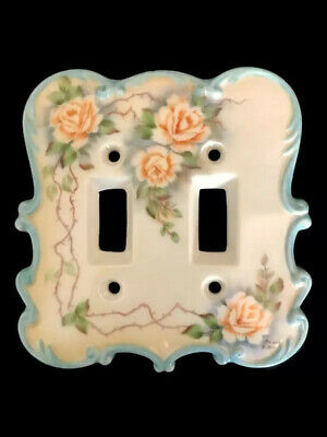 Vtg Grace Potter Light Switch Shabby Boho Blue Floral Victorian Double Toggle