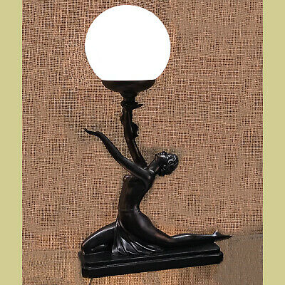 Kneeling Lady Satin Black Table Lamp With Crackle Glass Ball Shade - New