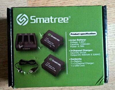 Smatree 3-Channel Charger With Replacement Battery 2-Pack for GoPro Hero 7/6/5