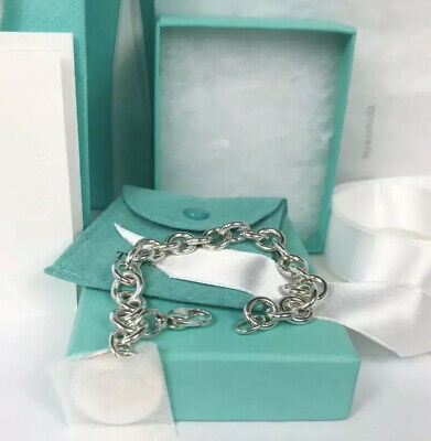 """New Tiffany & Co. Sterling Silver Round Tag Bracelet 7.5"""" Pouch Only"""