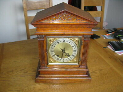 "Antique Oak Wintehadler and Homffier ""ting tong"" Bracket Clock"