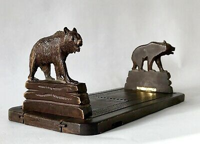 Antique/Vintage Black Forest Carved Wood 'Bear' Expandable Bookends