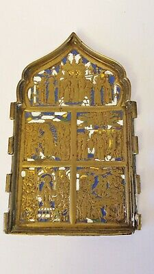 Authentic Antique Russian 18th-19th Century Brass Part of Traveling Icon