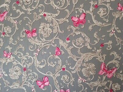 VERSACE Wallpaper -  Barocco Butterfly - Grey/Pink - 34325-5