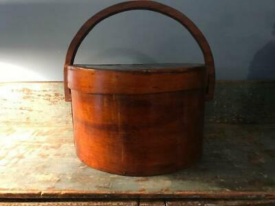 "Antique Primitive Pantry Box Wood Handle Pumpkin Patina Thick Walls 13""  aafa"