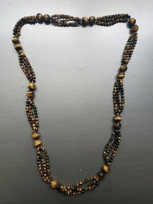 """Spectacular Multi Strand Estate Tiger's Eye Knotted Beaded 26"""" Necklace"""