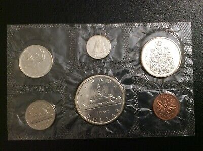 The  Old Canada Silver Coins Mint 1965 Bu Set Uncirculated.