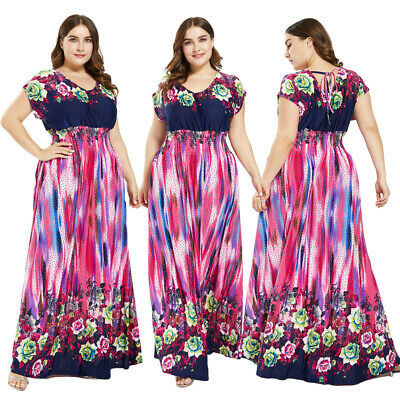 Boho Summer Women Short Sleeve Maxi Dress Floral Print Beach Holiday Sundress