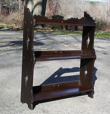 Antique Victorian Black Walnut Shelving Unit Bookcase Wall Shelf Etagère