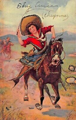 COWGIRL~BELLE OF THE PLAINE~1900s POSTCARD