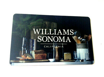 WILLIAMS SONOMA CALIFORNIA Gift Card New No Value---0---BALANCE RECHARGEABLE