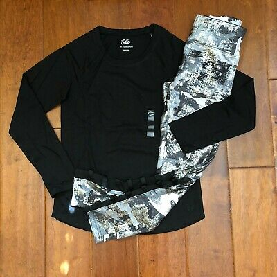 NWT JUSTICE Girls Size 14/16  Black Tee & Foil Camo Mesh Lattice Leggings Outfit