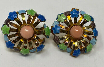VINTAGE Antique Chinese EXPORT SILVER Vermeil enamel coral FLOWER EARRINGS