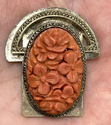 ANTIQUE VINTAGE CHINESE CARVED DEEP SALMON CORAL SILVER Marcasite CLIP Clasp