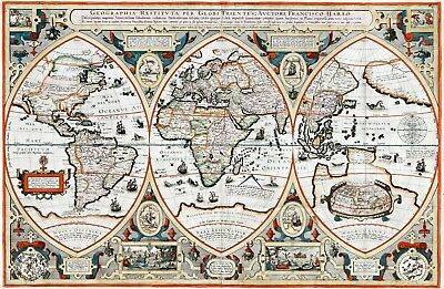 1618 World Map by Franciscus Haraeus Verhaer Vintage History Wall Poster School