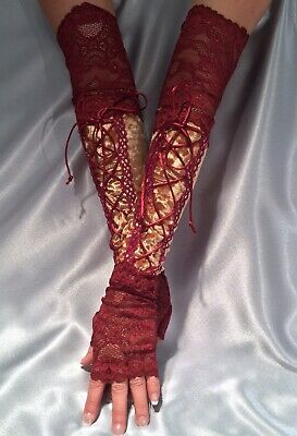 XX Long Velour Lace Up Fingerless Gloves Lace Cuffs Gold Burgundy Wine Red
