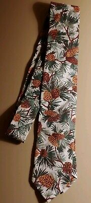 Hand Made Hand Sewn Cotton Vintage Tie Holiday Tie Pinecones Evergreen Branches