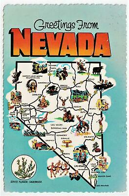 GREETINGS FROM NEVADA** STATE MAP 1960's **LAS VEGAS nevada Post Card *B 54