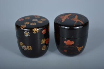 K4247: Japanese Wooden Lacquer ware Flower pattern TEA CADDY Natsume Jujube 2pcs