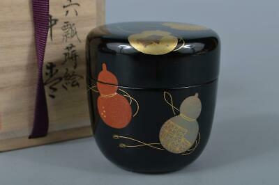 K4860: Japanese Wooden Lacquer ware Gourd pattern TEA CADDY Natsume Chaire