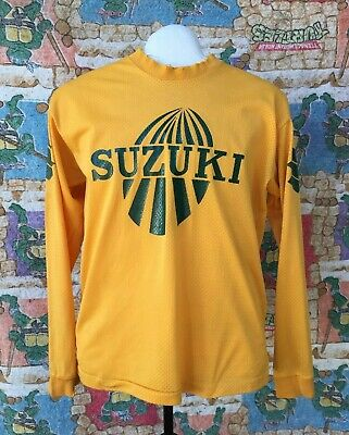 1970 Vtg SUZUKI New England Racing Motorcycle Jersey Distress *rare