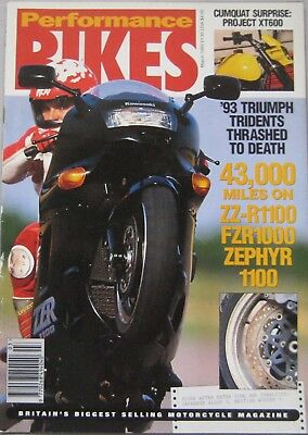 Performance Bikes magazine March 1993 featuring Triumph