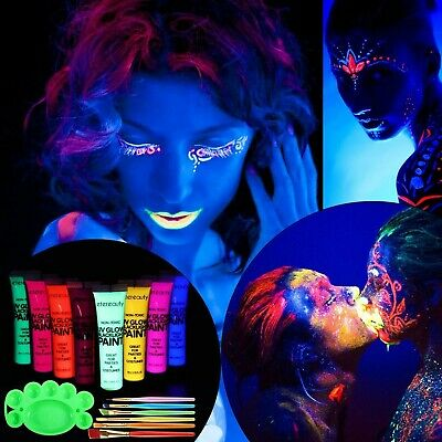 Body Paint - Set of 8 Tubes - Neon Fluorescent, ETEREAUTY Glow Blacklight Fac...