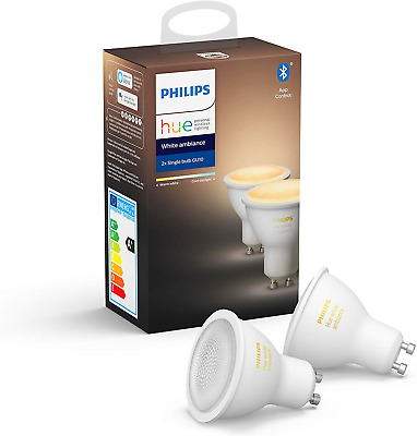 Philips Hue White Ambiance Smart Spotlight Twin Pack LED [GU10 Spot] with Works