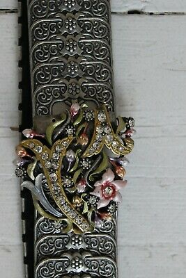 sparkly metal party belt, floral detail with embellishments