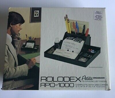 Rolodex Petite RPO-1000 VINTAGE Black Never Been Used with Box