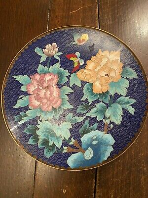 Stunning Antique 19th Century Chinese Cloisonné Enamel Plate