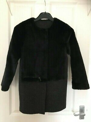 Next Girls Coat dark grey wool mix and faux black fur age 9