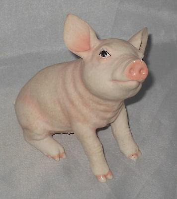 """Baby Pig Figurine Farm Animal Pink Piglet Poly Stone 4.25"""" High New in Box Piggy"""