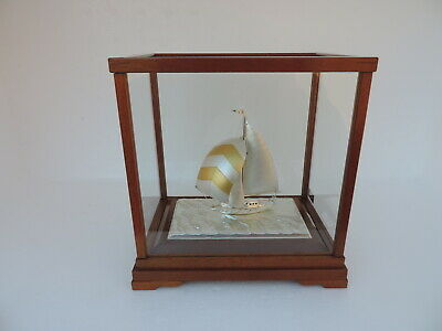 Signed Solid Sterling Silver 985 Sailboat Yacht Takehiko Japan W Box & Paper