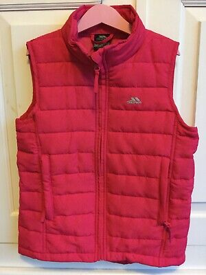 Girls Trespass deep bright pink quilted gilet body warm Joules style age 9 to 10