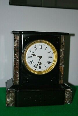 Victorian French Black Slate and Marble Mantle Clock