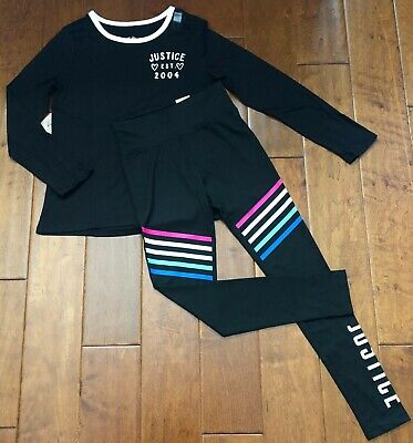 NWT JUSTICE Girls 14//16 Girls Run The World /& Gray//Blk Dolphin Shorts Outfit