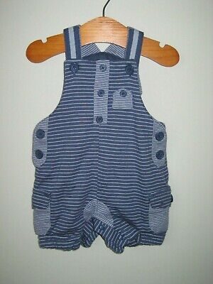 Next Baby Boy Short Dungarees Romper up to 3 months jersey cotton stripes