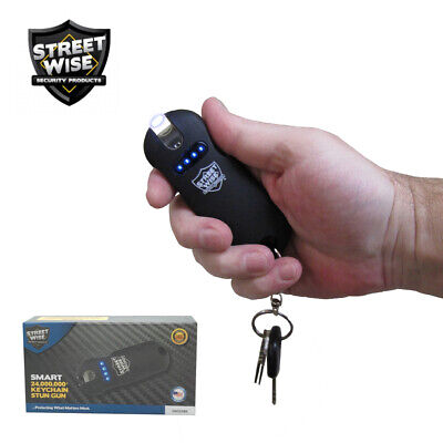 Streetwise SMART Keychain Stun Gun 24,000,000 Battery Status Indicator Light BLK