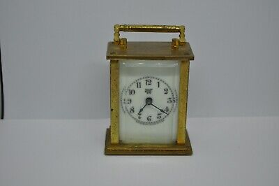 Antique Vintage WATERBURY CLOCK CO. MINIATURE BRASS CARRIAGE CLOCK