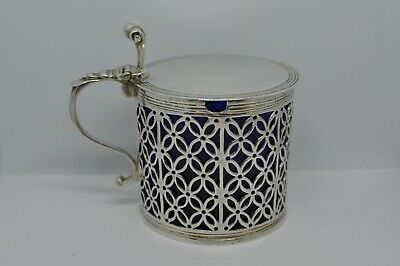 Rare Antique 1768 Samuel Herbert & Co Sterling MUSTARD POT Glass Insert, London