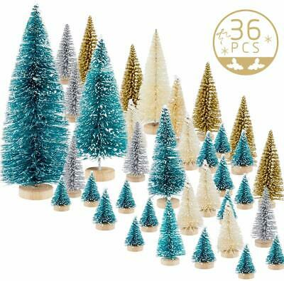 36Pcs Mini Sisal Trees Miniature Christmas For Craft Bottle Brush Pine Village A