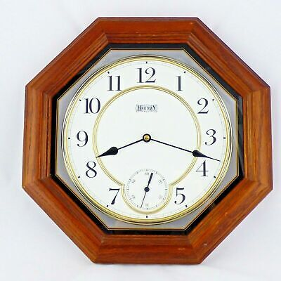 """Hour Town Wood Wall Clock Octagonal Cherry Finish Second Hand Floating Dial 14"""""""