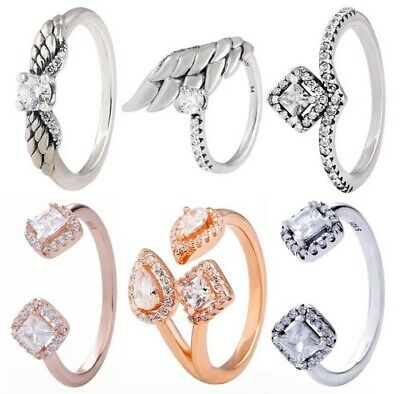 Sparkling Angel Wings Square Wishbone Open Ring 925 Sterling Silver Signature