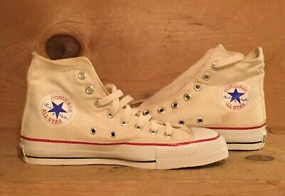 Vintage 1980s Converse All Star Chuck Taylor White Made In The USA Size 6.5